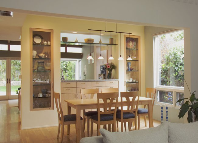 est Los Angeles open living_dining room, kitchen remodel, bath remodel,built-in maple cabinets, architect